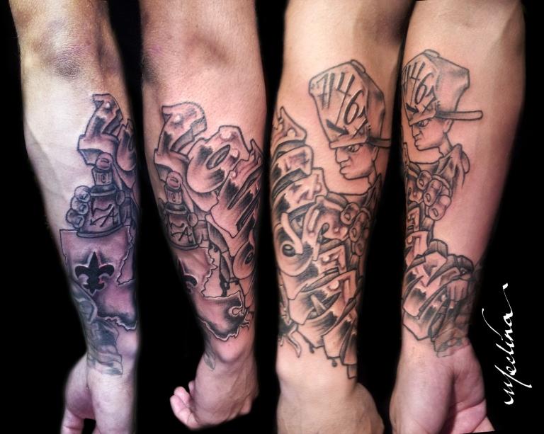 Louisiana Graffiti Tattoo by Michael Medina