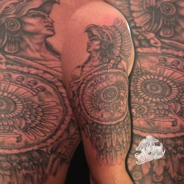 Aztec Warrior Tattoo by Michael Medina