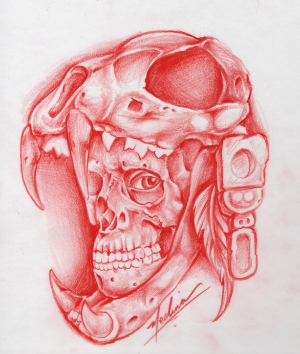 Aztec Warrior Skull Drawing