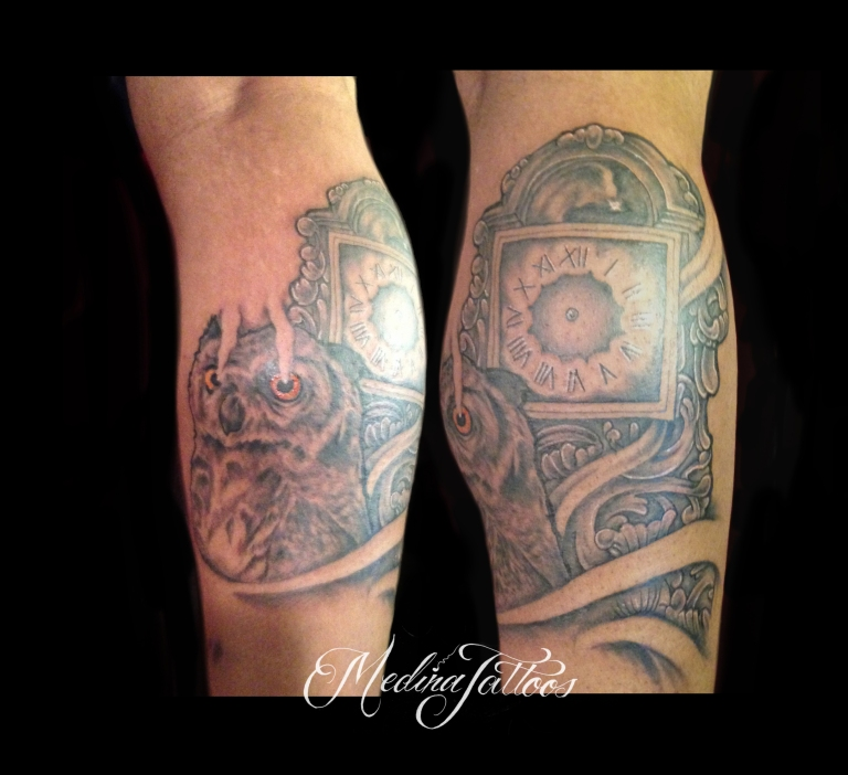 Grandfather Clock & Owl Tattoo by Michael Medina