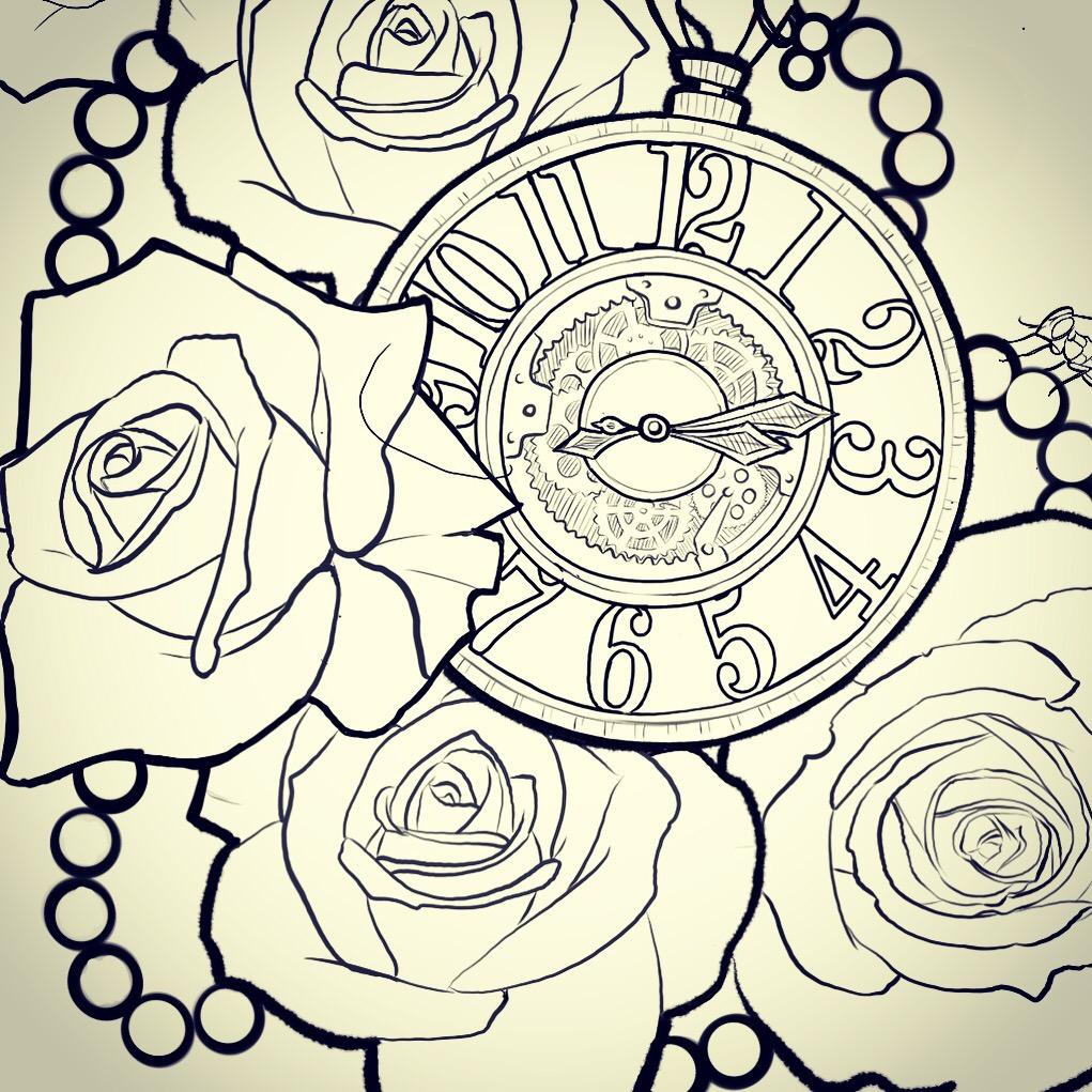 Rose Clock Tattoo Designs Drawing: Rose & Clock Tattoo Preperation